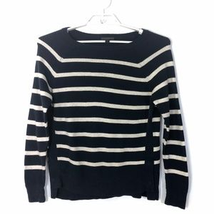 J.crew Striped crewneck sweater with side snaps 🌸